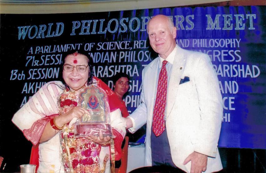 Shri Mataji receives award from Claes Nobel.