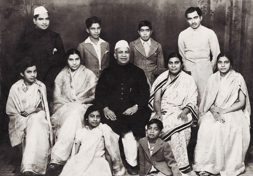 Shri Mataji With Her Family (Shri P K Salve Sitting in the middle & to his right is Shree Mataji)
